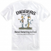 "Anaconda Treasure Co White ""Diggers"" Metal Detecting Is Cool Tee"